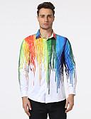 abordables Camisetas y Tops de Hombre-Hombre Estampado - Algodón Camisa, Cuello Inglés Multicolor / Manga Larga