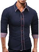 abordables Camisas de Hombre-Hombre Algodón Camisa, Cuello Inglés Bloques