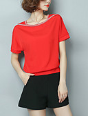 abordables Blusas para Mujer-Mujer Tallas Grandes Blusa, Escote en U Bloques