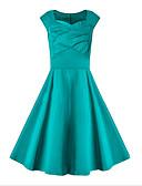 baratos Vestidos de Mulher-Mulheres Chique & Moderno Rodado Vestido - Estilo Moderno, Sólido Altura dos Joelhos