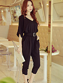 cheap Women's Jumpsuits & Rompers-Women's Party / Going out / Work Street chic / Punk & Gothic V Neck Black Red Harem Jumpsuit, Solid Colored Pleated Batwing Sleeve M L XL Half Sleeve Spring Summer