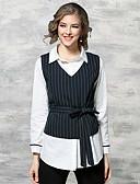 baratos Suéteres de Mulher-Mulheres Camisa Social - Trabalho Temática Asiática Estampado Algodão Colarinho de Camisa / Primavera / Verão
