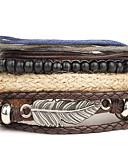 levne Pánské košile-Pánské Dámské tkaný Wrap Náramky Kožené náramky Kožené Vintage Punk Náramky Šperky Stříbrná Pro Párty