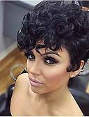 halpa Tanssiasusteet-Synteettiset peruukit Kihara / Afro Synteettiset hiukset Musta Peruukki Naisten Lyhyt Suojuksettomat