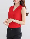 abordables Blusas para Mujer-Mujer Sofisticado Trabajo Blusa, Escote en Pico Un Color