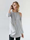 preiswerte Bodysuit-Damen Solide Sexy Ausgehen Strand T-shirt,Schulterfrei Frühling Sommer Langarm Polyester Dünn
