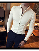 cheap Men's Polos-Men's Casual Cotton Shirt-Solid Colored Classic Collar