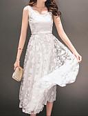 hesapli Maksi Elbiseler-Kadın's Dantel Elbise - Solid, Dantel