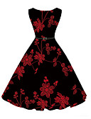 cheap Vintage Dresses-Women's Party Vintage A Line Dress - Floral Print