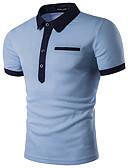 baratos Pólos Masculinas-Homens Polo Negócio / Activo / Moda de Rua Sólido Colarinho de Camisa Delgado / Manga Curta