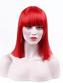preiswerte Kleider für die Blumenmädchen-Synthetische Perücken Glatt Schwarz Synthetische Haare Schwarz Perücke Kurz Kappenlos Rot