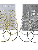 cheap Women's Lingerie-Women's Hoop Earrings - Classic, Basic Gold / Silver For Wedding / Party / Special Occasion / 12pcs