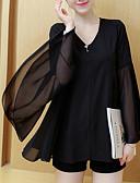 baratos Blusas Femininas-Mulheres Tamanhos Grandes Blusa - Para Noite / Trabalho Vintage / Sofisticado Sólido Decote V Solto / luva do alargamento
