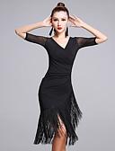 お買い得  ラテンダンスウェア-ラテンダンス ドレス 女性用 性能 プロミックス タッセル ハーフスリーブ ナチュラルウエスト ドレス