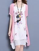 billige Kjoler i plus størrelser-Dame Plusstørrelser Løstsiddende Kjole - Blomstret Over knæet