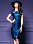 preiswerte Damen Kleider-Damen Übergrössen Ausgehen Street Schick Schlank Bodycon Kleid - Gitter, Solide Stickerei Knielang Blau