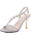 hesapli Gelin Annesi Elbiseleri-Kadın's Ayakkabı Suni Deri Bahar / Yaz Hafif Tabanlar Sandaletler Stiletto Topuk Açık Uçlu için Altın / Gümüş / Pembe