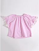 olcso Kislány ruhák-Napi Pamut Csíkos Nyár Rövid ujjú Lány Póló Arcpír rózsaszín