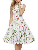 levne Dámské šaty-Dámské Swing Šaty - Květinový High Rise