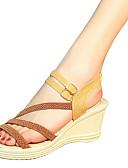 cheap Women's T-shirts-Women's Shoes PU Summer Comfort Sandals Wedge Heel for Outdoor White Black Dark Brown