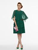 baratos Vestidos de Coquetel-Linha A Decote V Curto / Mini Chiffon Duas Peças Coquetel Vestido com Pregas de TS Couture®
