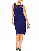preiswerte Damen Kleider-Damen Übergrössen Arbeit Anspruchsvoll Hülle Kleid - Spitze, Solide Knielang Blau