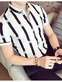 baratos Relógio Elegante-Homens Polo Listrado Algodão Colarinho de Camisa Delgado