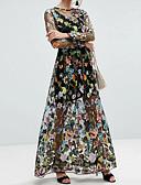 זול שמלות נשים-מקסי גב חשוף רשת, רקמה - שמלה משוחרר משי כותנה סגנון רחוב ליציאה בגדי ריקוד נשים