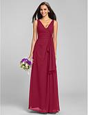 cheap Bridesmaid Dresses-Sheath / Column V Neck Floor Length Chiffon Bridesmaid Dress with Criss Cross by LAN TING BRIDE®