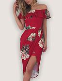 preiswerte Maxi-Kleider-Damen Festtage / Ausgehen Sexy Hülle Kleid - Druck, Blumen Asymmetrisch Schulterfrei Rot