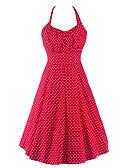 baratos Vestidos de Mulher-Mulheres Vintage Algodão Evasê Vestido Poá Nadador Mini Vermelho