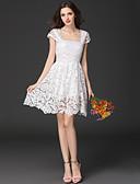 baratos Vestidos de Mulher-Mulheres Feriado Evasê / Bainha Vestido Sólido Decote Quadrado Cintura Alta Acima do Joelho Branco / Verão / Rendas