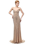 cheap Evening Dresses-Mermaid / Trumpet Spaghetti Strap Sweep / Brush Train Tulle Cocktail Party / Prom / Formal Evening Dress with Beading by LAN TING Express