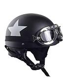 זול טישרטים לגופיות לגברים-קסדה אופנוע קסדה אופנוע עם משקפיים חצי קסדה לבן כוכב קסדה 55cm-60cm עבור הארלי kawasaki