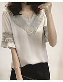 저렴한 티셔츠-여성용 솔리드 V 넥 티셔츠 면