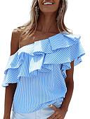 abordables Blusas para Mujer-Mujer Chic de Calle Festivos En Capas / Volante Camiseta, Un Hombro A Rayas / Verano / Otoño