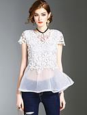 hesapli Kadın Üst Giyim-Kadın's Tişört Dantel, Solid Sevimli Sokak Şıklığı Kumsal