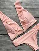 billige Bikinier og bademode 2017-Dame Solid / Folder / dyb halsudskæring Grime Bikini - Ensfarvet