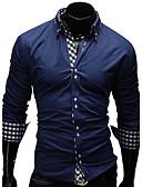 cheap Men's Jackets & Coats-Men's Plus Size Cotton Shirt - Plaid Print Button Down Collar / Long Sleeve