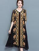 baratos Vestidos de Mulher-Mulheres Tamanhos Grandes Solto Vestido - Estampado, Floral Decote V Médio
