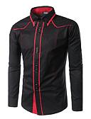 baratos Camisas Masculinas-Homens Camisa Social Activo Estampa Colorida / Retalhos Algodão Colarinho Clássico