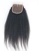 baratos Vestidos Femininos-ELVA HAIR Encerramento 3.5x4 Clássico / Kinky Liso Parte gratuito / Parte Médio / Parte 3 Tela Suiça Cabelo Humano Diário