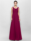cheap Bridesmaid Dresses-A-Line Scoop Neck Floor Length Chiffon Bridesmaid Dress with Ruched by LAN TING BRIDE® / Open Back