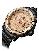 baratos Relógio Esportivo-NAVIFORCE Homens Relógio Esportivo / Relógio de Pulso Calendário / Legal Aço Inoxidável Banda Luxo / Casual / Fashion Preta