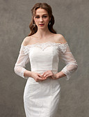 cheap Wedding Wraps-Lace Wedding Party Evening Women's Wrap With Lace Button Shrugs