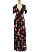 cheap Women's Dresses-Women's Plus Size Boho Swing Dress Print High Rise Maxi Deep V