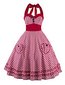 cheap Vintage Dresses-Women's Vintage Cotton A Line Dress - Check Halter Neck