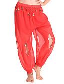 hesapli Göbek Dansı Giysileri-Göbek Dansı Alt Giyimler Kadın's Performans Şifon Kolye Ucu Yüksek Pantalonlar