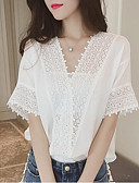 cheap Women's Blouses-Women's Cute Blouse - Solid Colored Lace V Neck