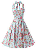 cheap Prom Dresses-Women's Going out Vintage Cotton Swing Dress - Floral Halter Neck / Floral Patterns